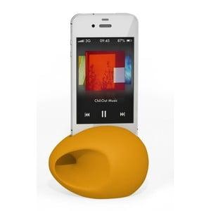 Stojan a zesilovač iEgg na iPhone 4, žlutý