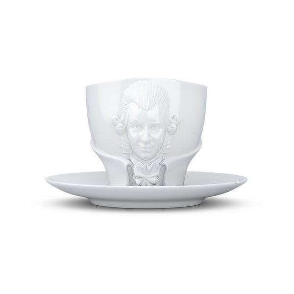 Set cană din porțelan cu farfurie 58products Wolfgang Amadeus Mozart, 260 ml, alb