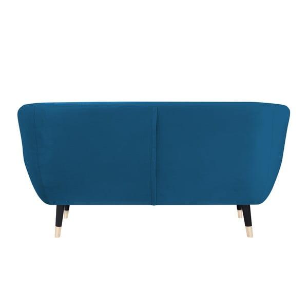 Canapea cu 2 locuri Mazzini Sofas AMELIE cu picioare negre, albastru