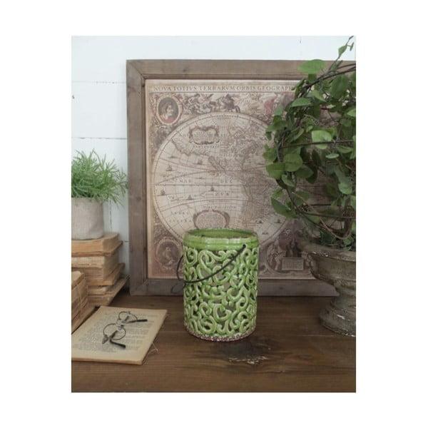 Zielona lampion ceramiczny Orchidea Milano, wys. 17 cm