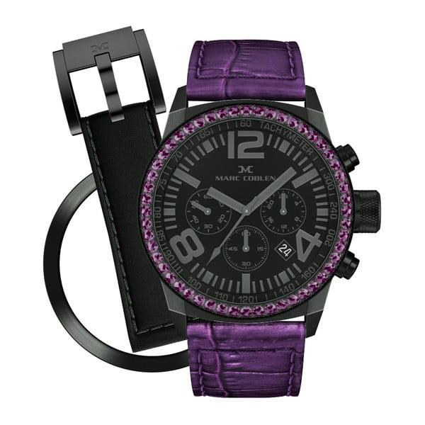 Dámské hodinky Marc Coblen s páskem a kroužkem navíc P118