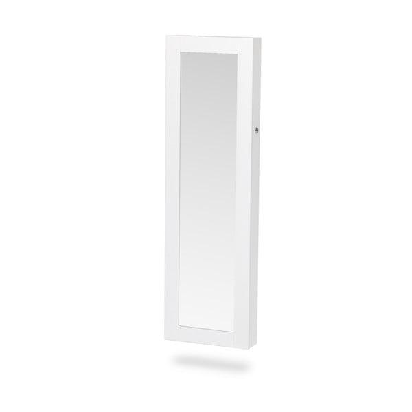 Biela nástenná šperkovnica na dvere so zrkadlom Chez Ro Bien