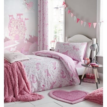 Lenjerie de pat Catherine Lansfield Unicorn, 135 x 200 cm, roz imagine