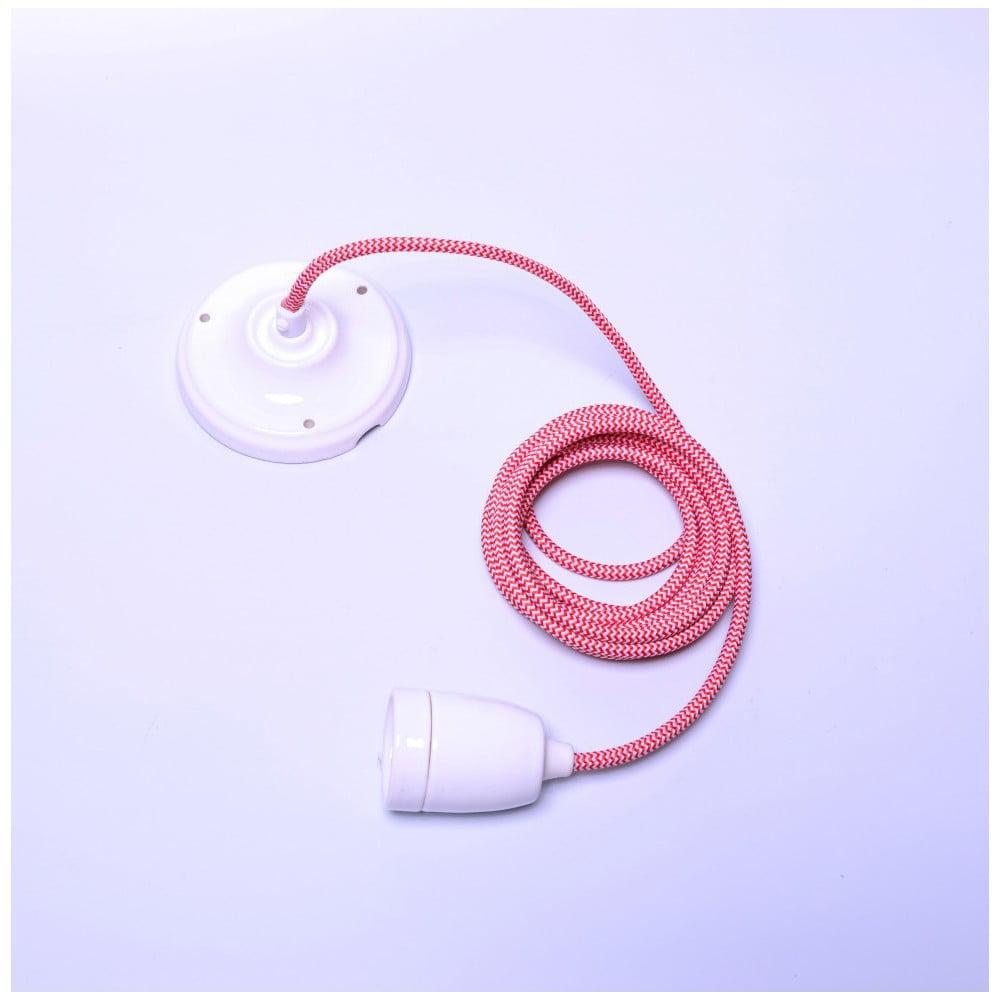 Růžový kabel pro stropní světlo s bílou objímkou Filament Style Diamond