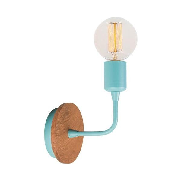 Bledě modrá nástěnná lampa Simple Drop Wood