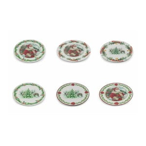 Sada 6 vánočních dekorativních plastových talířů Villa d'Este XMAS Sottopiatto Tondo, ⌀ 33 cm