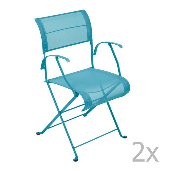 Sada 2 tyrkysových skládacích židlí s područkami Fermob Dune