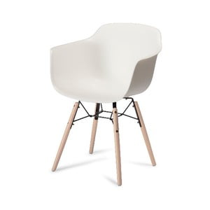 Bílá jídelní židle s nohami z bukového dřeva Furnhouse Jupiter