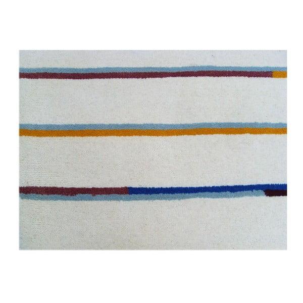 Ručně tuftovaný béžový koberec Bakero Stripe, 122x183cm