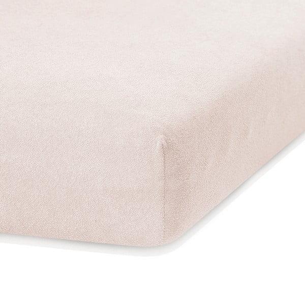 Cearceaf elastic AmeliaHome Ruby, 200 x 160-180 cm, bej deschis