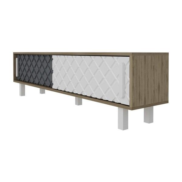 TV stolek v dekoru dubového dřeva s bílými a antracitovými detaily Rob