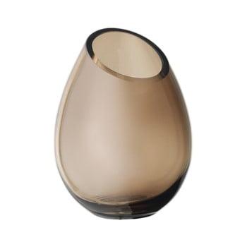 Vază din sticlă Blomus Raindrop, înălțime 16,5 cm, maro