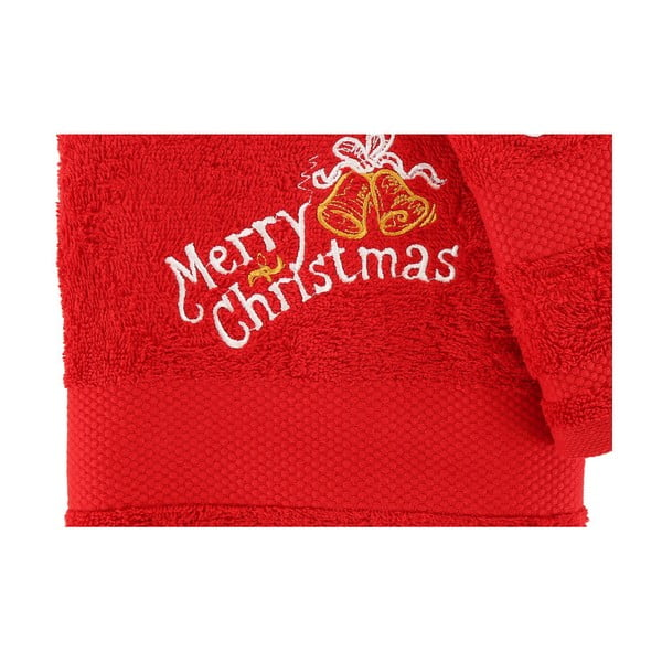 Vánoční set červeného ručníku a osušky Merry Christmas