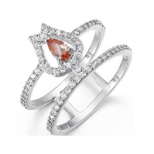 Prsten s bílými a oranžovými krystaly Swarovski Elements Crystals Mia, ø13mm
