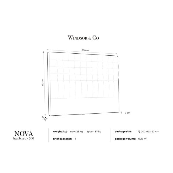 Krémové čelo postele Windsor & Co Sofas Nova, 200 x 120 cm