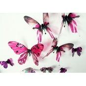 Sada 18 růžových adhezivních 3D samolepek Ambiance Butterflies