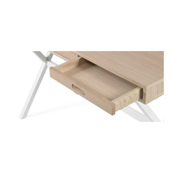 Pracovní stůl v dekoru dubového dřeva s bílými kovovými nohami HARTÔ Hyppolite, 120x55cm