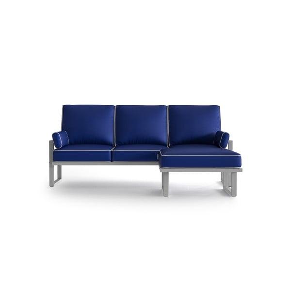 Královsky modrá rohová pohovka s odnímatelnou podnožkou a bílým lemem Marie Claire Home