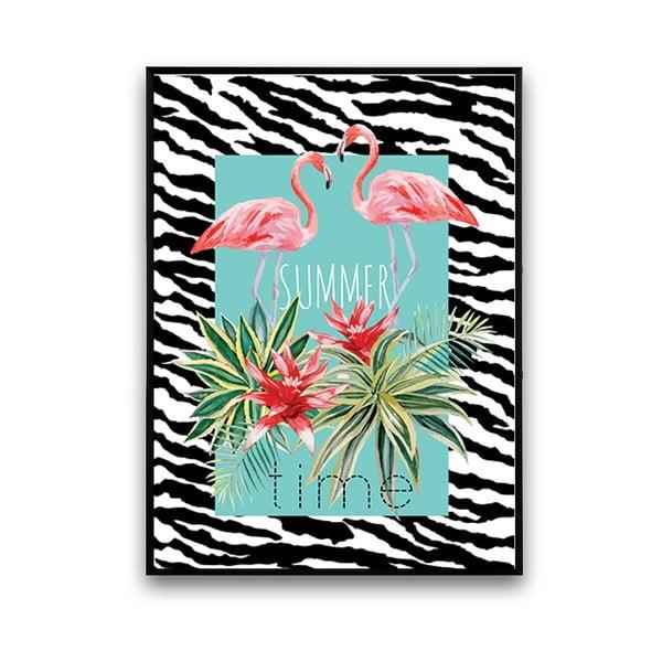 Plakát s plameňáky Summer Time, 30 x 40 cm