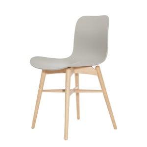 Šedá jídelní židle z masivního bukového dřeva NORR11 Langue Natural