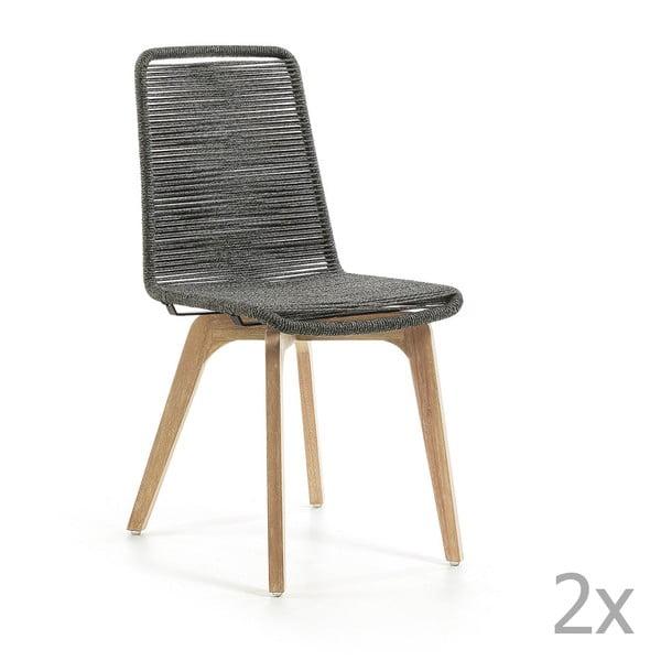 Sada 2 světle šedých židlí La Forma Glendon