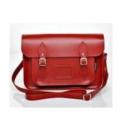 Kožená kabelka Satchel 40 cm, červená