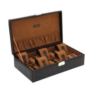 Hnědý box na deset hodinek Friedrich Lederwaren Bond Case