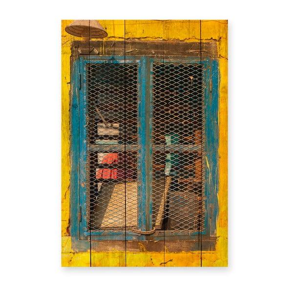 Nástěnná cedule z borovicového dřeva Really Nice Things Yellow Window, 40 x 60 cm