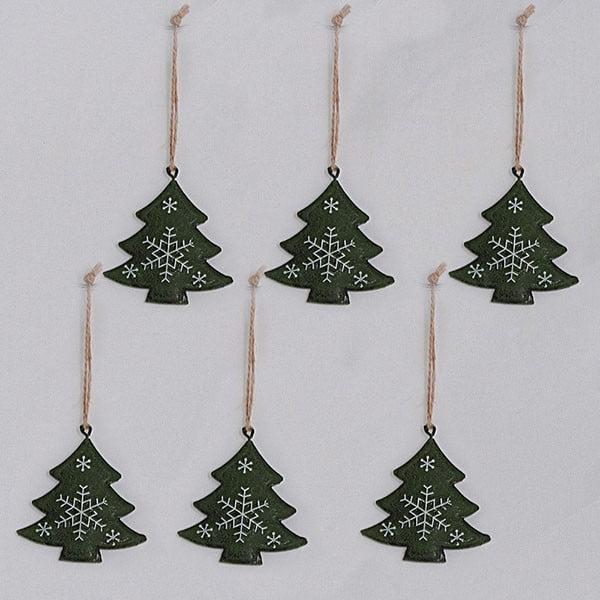 Kovové závěsné dekorace stromečky, 6 ks