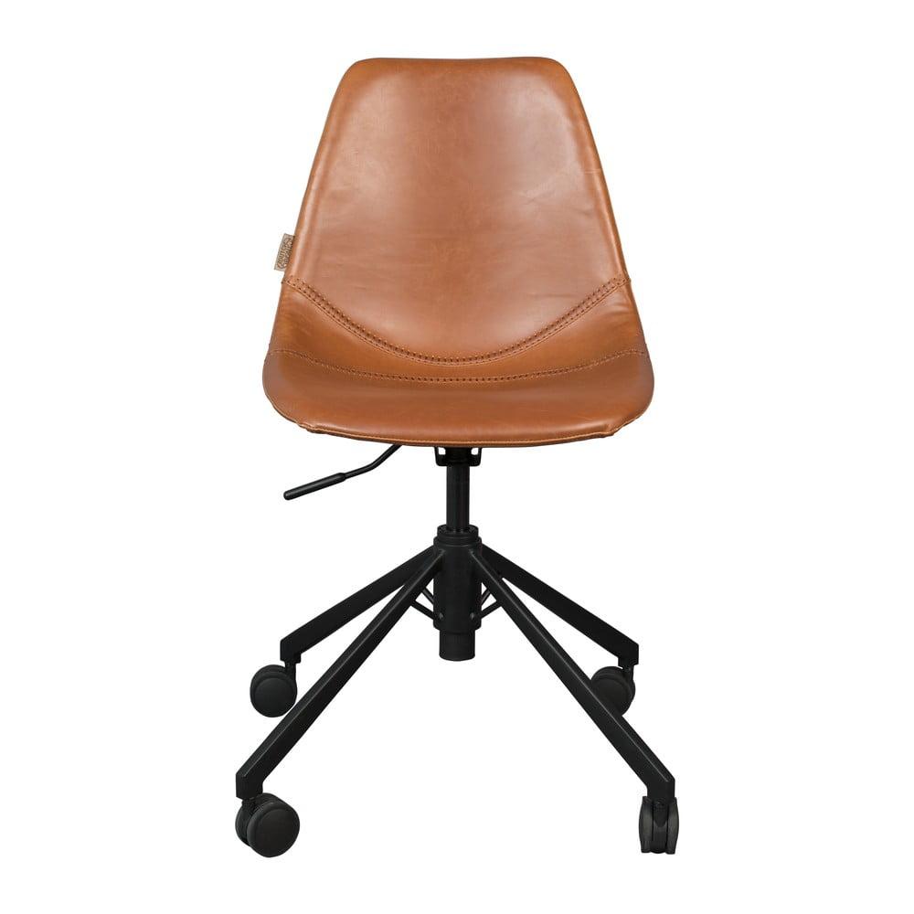 Hnědá kancelářská židle na kolečkách Dutchbone Franky