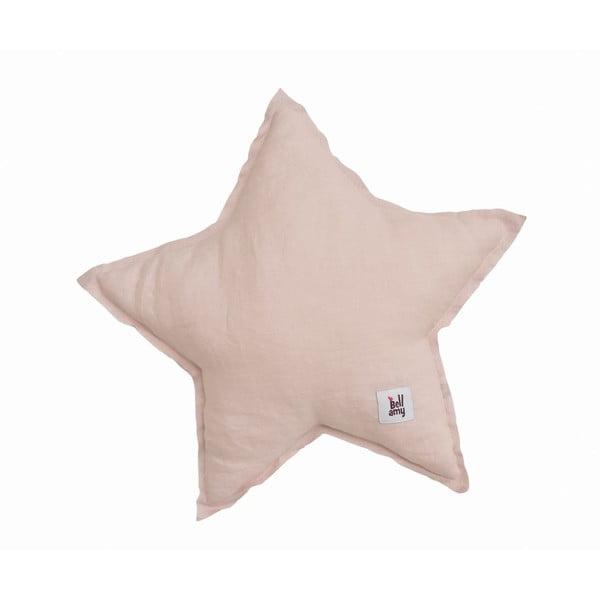 Pernă din in în formă de stea pentru copii BELLAMY Dusty Pink, roz