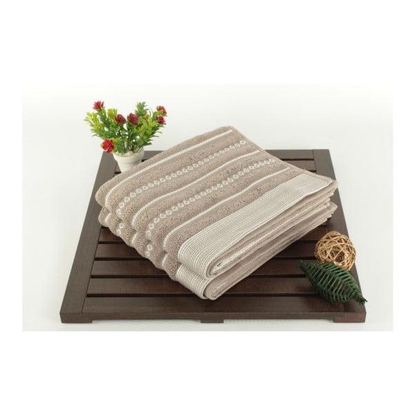 Sada dvou ručníků s pruhovaným vzorem v šedé a krémově barvě Nature Touch, 90x 50cm