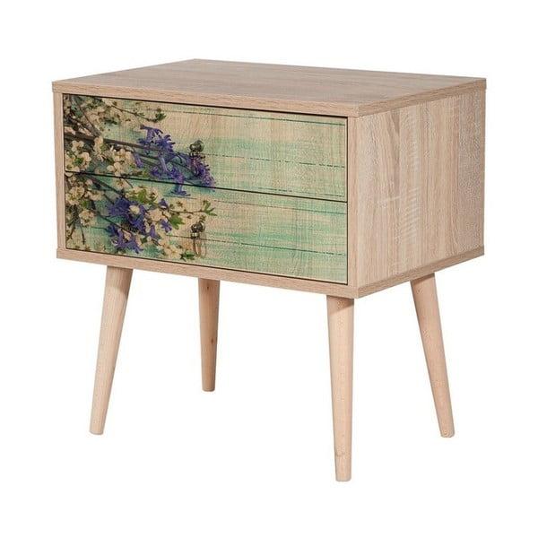 Dřevěný noční stolek Iris Flowers