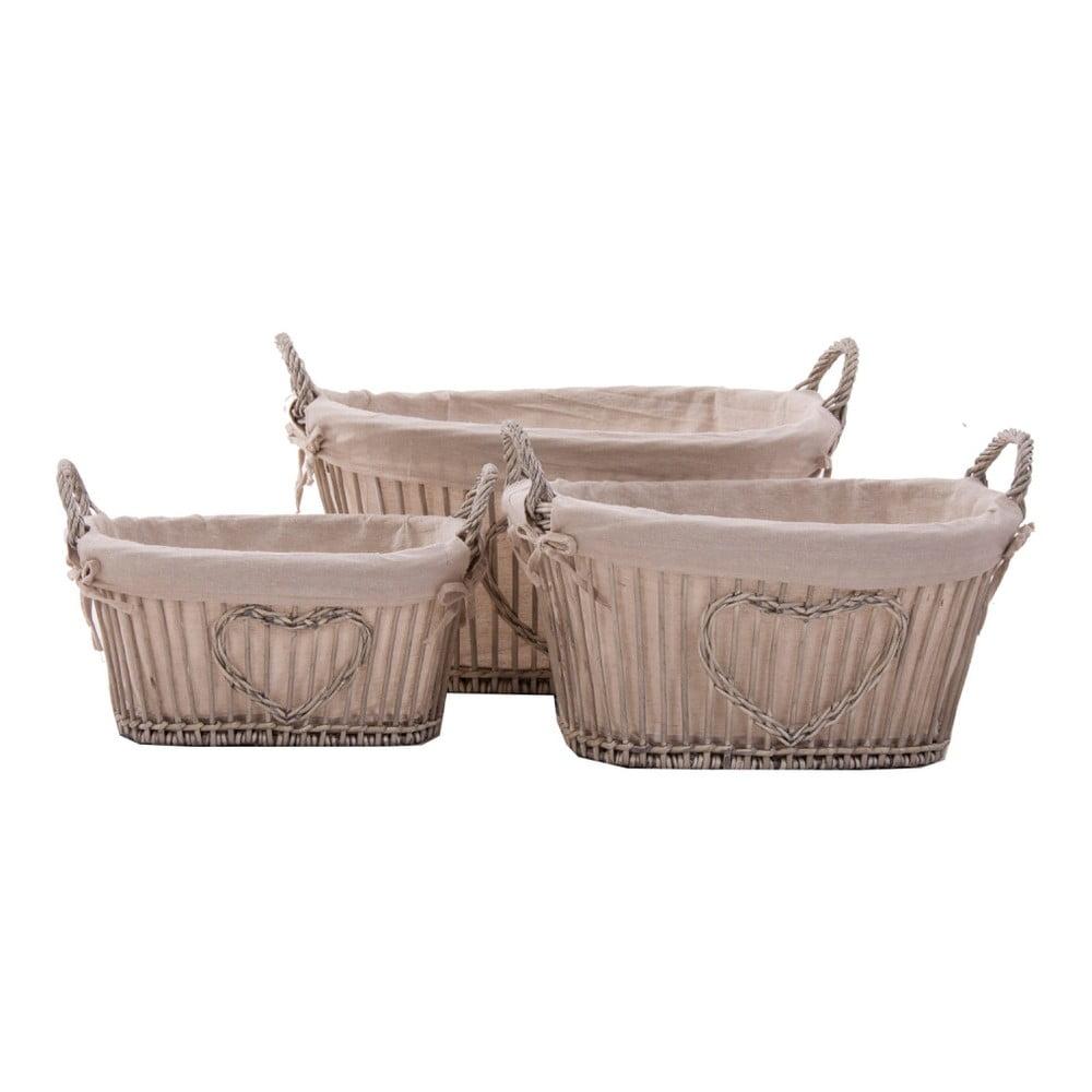 Sada 3 proutěných košíků VICAL HOME Baskets