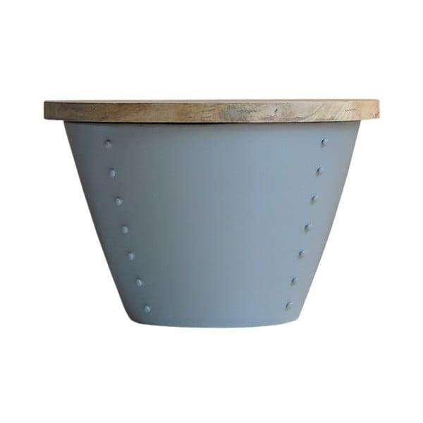 Indi szürke tárolóasztal mangófa asztallappal, Ø 60 cm - LABEL51