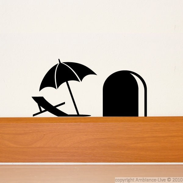 Samolepka Mouse Hole with Umbrella, 15x8 cm