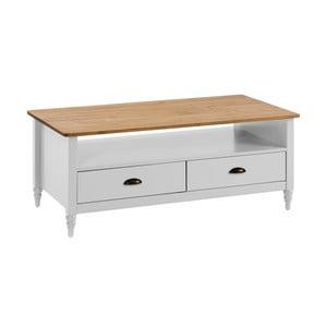 Bílý konferenční stolek z masivního borovicového dřeva se 2 zásuvkami Marckeric Joyce