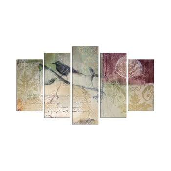 Tablou din mai multe piese Birdie On The Branch, 110 x 60 cm de la Unknown