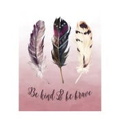 Plakát v dřevěném rámu Feather three, 38x28 cm