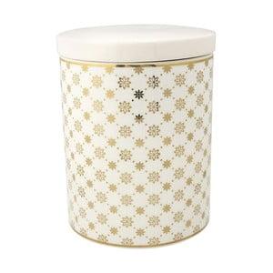 Bílá dóza s dekorem ve zlaté barvě Green Gate Laurie