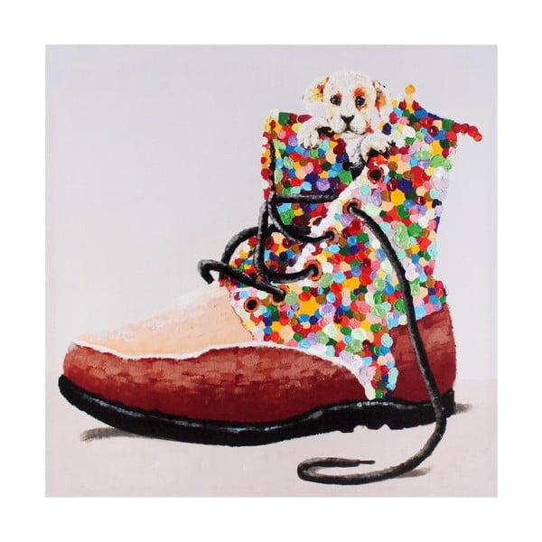 Obraz Pes s botou, 60x60 cm