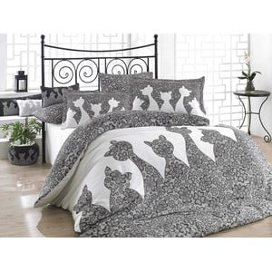 Lenjerie de pat cu cearșaf Jazz Black, 200x220cm