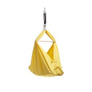 Malá žlutá kolébka z bavlny se zavěšením do stropu Hojdavak Baby (0až9 měsíců)