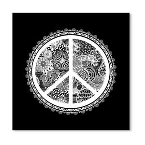 Černý plakát Americanflat Creative Peacemaker, 30 x 30 cm