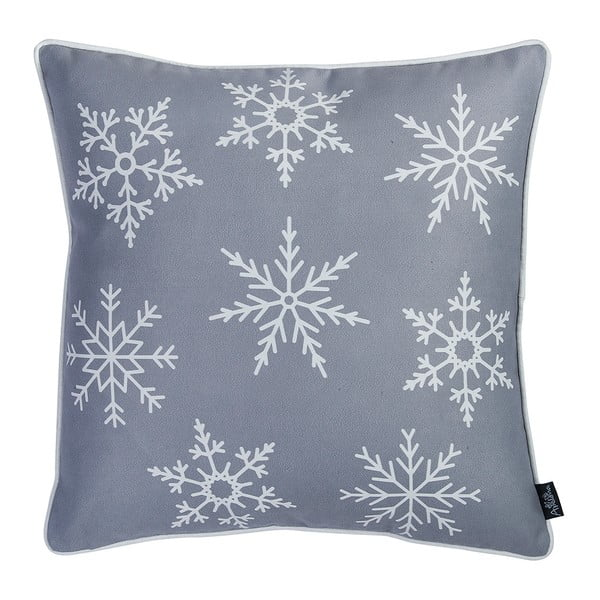 Šedý povlak na polštář s vánočním motivem Apolena Honey Snowflake, 45 x 45 cm