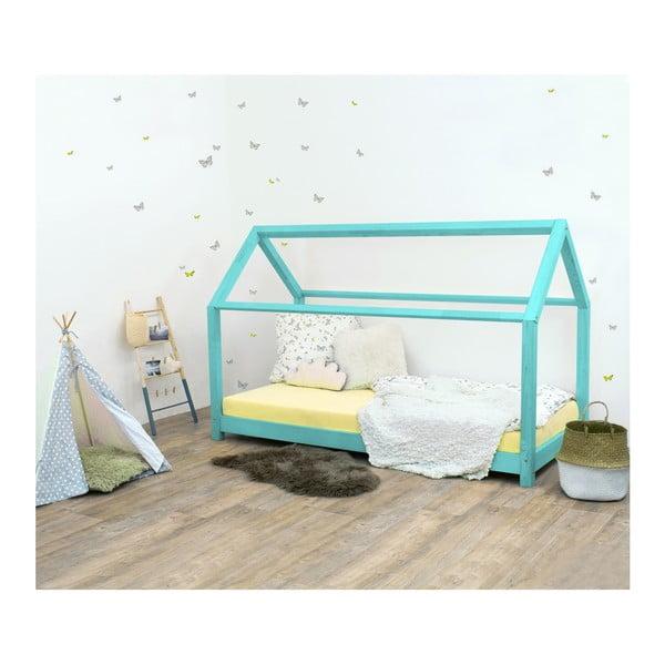 Tyrkysově modrá dětská postel ze smrkového dřeva Benlemi Tery, 80x200cm