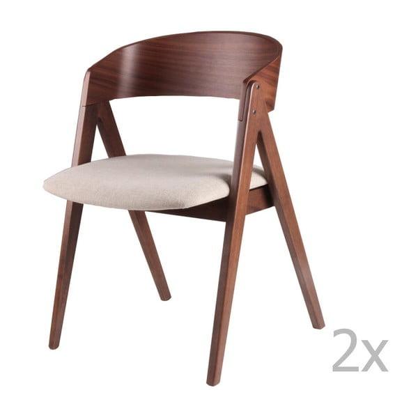 Set 2 scaune sømcasa Rina, bej