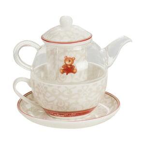 Set de ceainic, ceașcă, farfurioară și sită de ceai din porțelan Brandani Abbracci Bear
