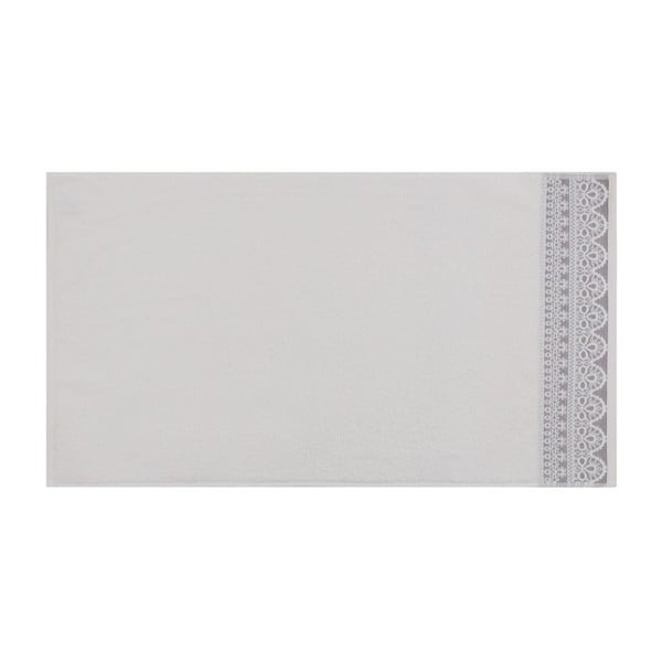 Sada dvou bílých ručníků s fialovým detailem Romantica, 90x50cm