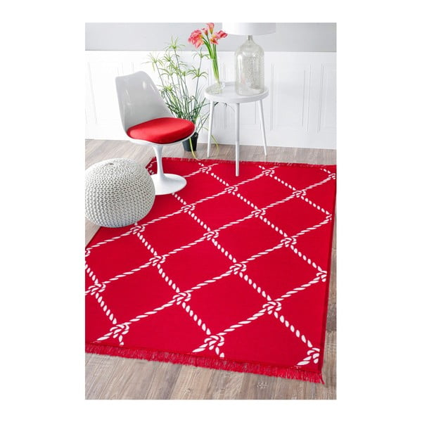 Červeno-bílý oboustranný koberec Rope, 120 x 180 cm